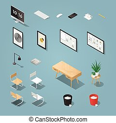 Office furniture set - Isometric office furniture and...
