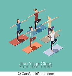 Yoga class illustration - Join yoga class isometric vector...