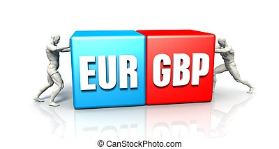 EUR GBP Currency Pair Fighting in Blue Red and White...