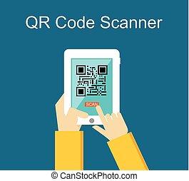 Qr code scanner concept illustration.