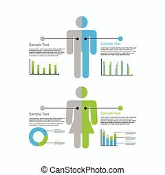 Human infographics element illustration. Information...