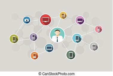 Business technology network concept illustration.