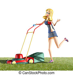 girl and lawn mower - 3d rendering illustration, girl and...
