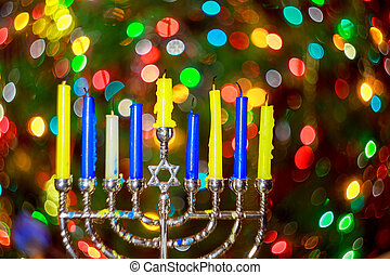 jewish holiday Hanukkah background with menorah traditional...