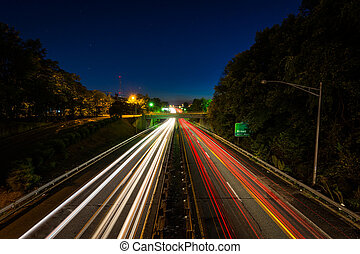 Interstate 40 Business at night, in downtown Winston-Salem,...