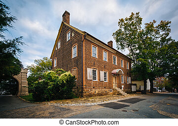 Old brick house in the Old Salem Historic District, in...