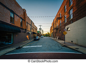 Lewis Street at sunset, in downtown Greensboro, North...