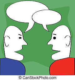 Dialogue - Cartoon illustration of two man talking, with...
