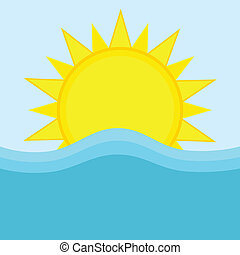 Sun and ocean - Cartoon illustration of the sun and waves in...