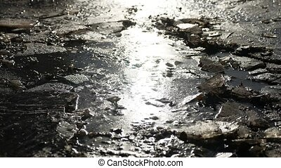 broken crack frozen the ice frozen water nature landscape -...