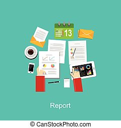 Business reporting or business evaluation concept...