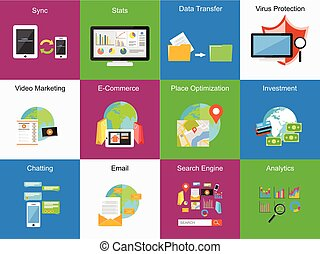 Mobile technology concept illustration. Set of icons. Flat design. Business background.
