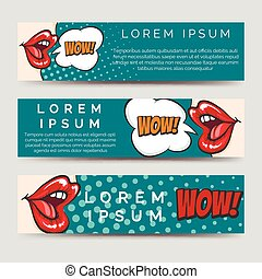 Horizontal banners in pop art style - Horizontal banners...