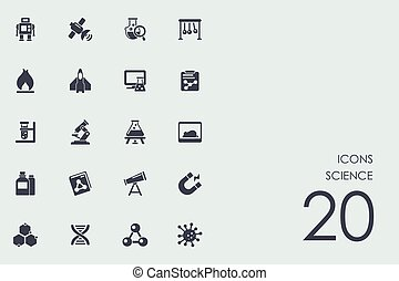 Set of science icons - science vector set of modern simple...