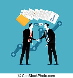 Businessman do handshaking with document contract illustration. Business partnership, agreement or dealing.