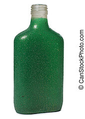 Green bottle on white - Glass and bottle wine on white...