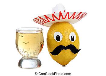 Tequila, blanco, anteojos