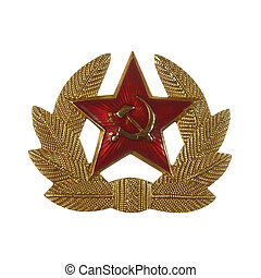Military badge from the former Soviet Union Isolated on white background.