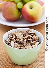 Healthy breakfast of bran flakes