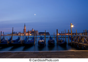 View of San Giorgio Maggiore at dawn. Shot on a tripod from...