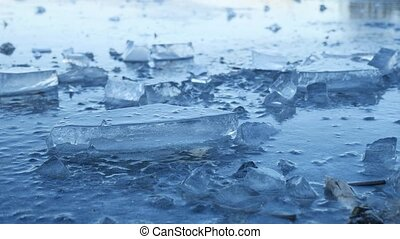 ice frozen water on the river ice break debris beautiful...