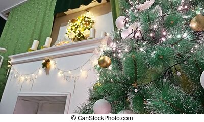 Christmas gifts interior room tree and New Year toys...