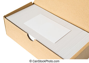 side view box of business cards with a blank one good for text & logo stands on top on white  including clipping path