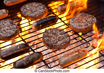Sausages and beefburgers on a BBQ - Flame grilled sausages...