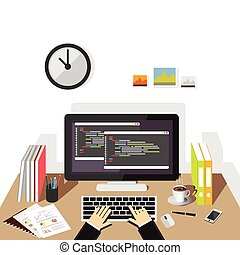 Programming on computer. Software development or coding...