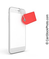 Phone with price tag. 3D rendering. - White smart phone with...