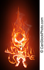 Devil in flames - Grotesque caricature of an angry burning...