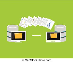 Copying files process. Files transfer between devices....