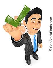 3D Businessman drawing a green tick