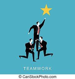 Cooperation or teamwork concept illustration. Teamwork...