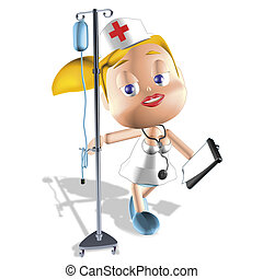 blonde nurse - 3d illustration render, blonde nurse and...