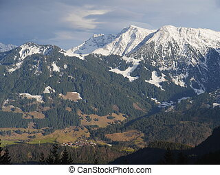 alps - Panoramic view of beautiful mountain landscape in the...
