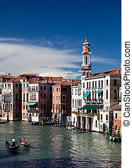 Grand Canal in Venice - View of busy grand canal in Venice...
