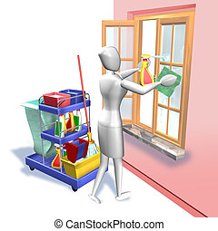Cleaning window - 3d rendering illustration, Cleaning window...