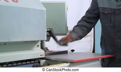 View of cutting machinery in operating position -...