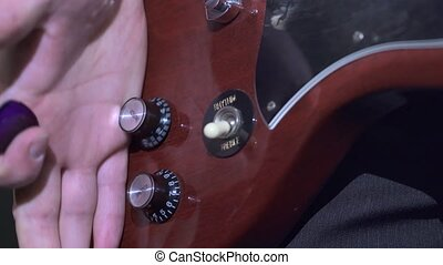 Modern electric guitar with switches and sensors - Close up...