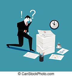 Confuse and busy businessman with a lot of work to do. Stress situation concept.