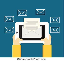 Reading inbox message. Sending and receiving messages from mobile phone or tablet.