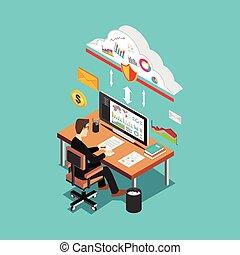Secure internet access. Cloud service concept.