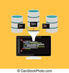 Script code for database query. Data mining process concept...