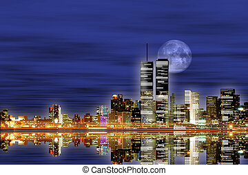 New York City Skyline - Background can use the Internet,...