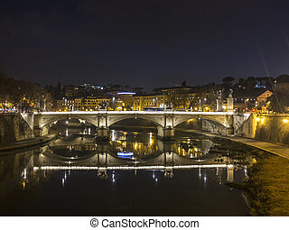 River Tiber in Rome by night - Beautiful River Tiber in Rome...