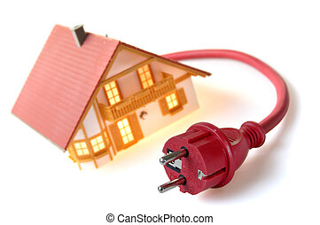 House with plug - Model house with red plug