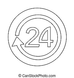 24 hours icon illustration design