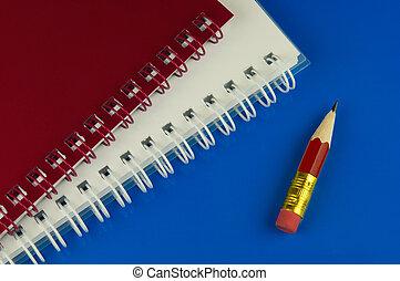kort, blyertspenna, anteckningsblock