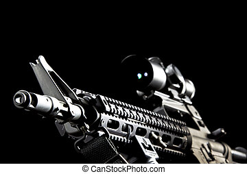 AR-15 Gun - An American AR-15 assault rifle in a studio...